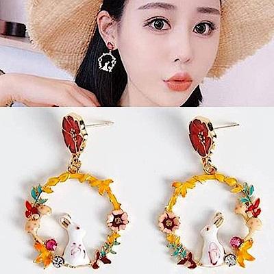 梨花HaNA 無耳洞韓國仰望花園星空的兔子耳環夾式