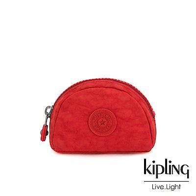 Kipling 珊瑚紅素面圓弧貝殼零錢包-TRIX
