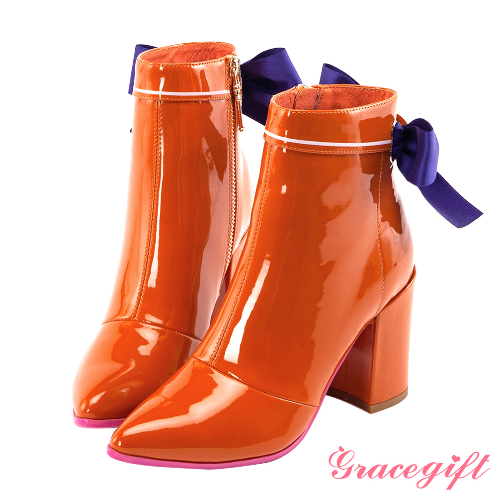 Grace gift-美少女戰士漆皮水手蝴蝶結短靴 黃