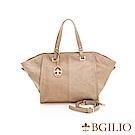 義大利BGilio-義大利水染牛皮知性簡約手提包-杏色 1945.004A-04