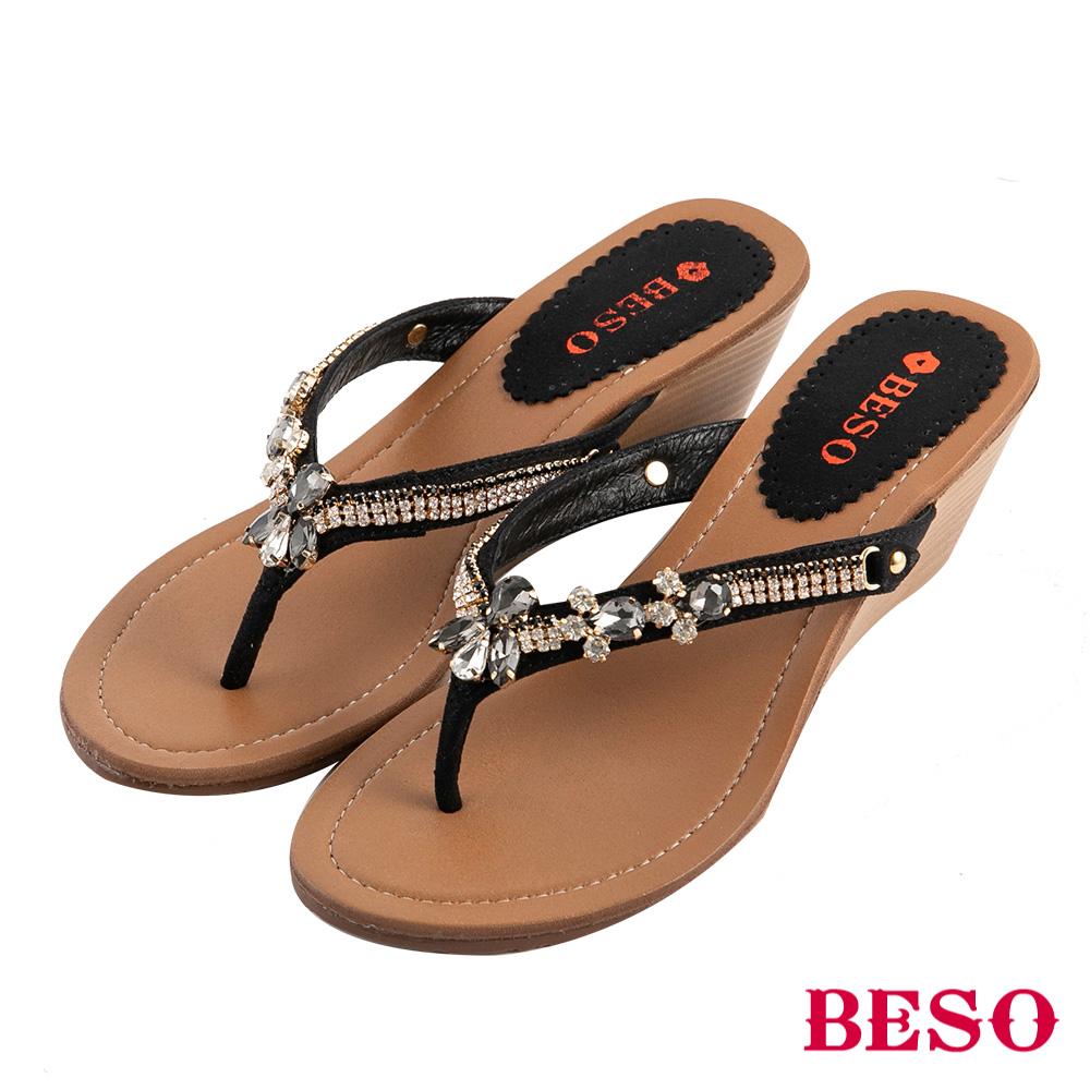 BESO 晶鑽寶石 水鑽人字夾腳涼拖鞋~黑
