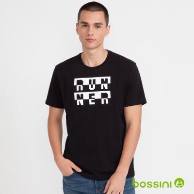 bossini男裝-文字印花短袖上衣黑