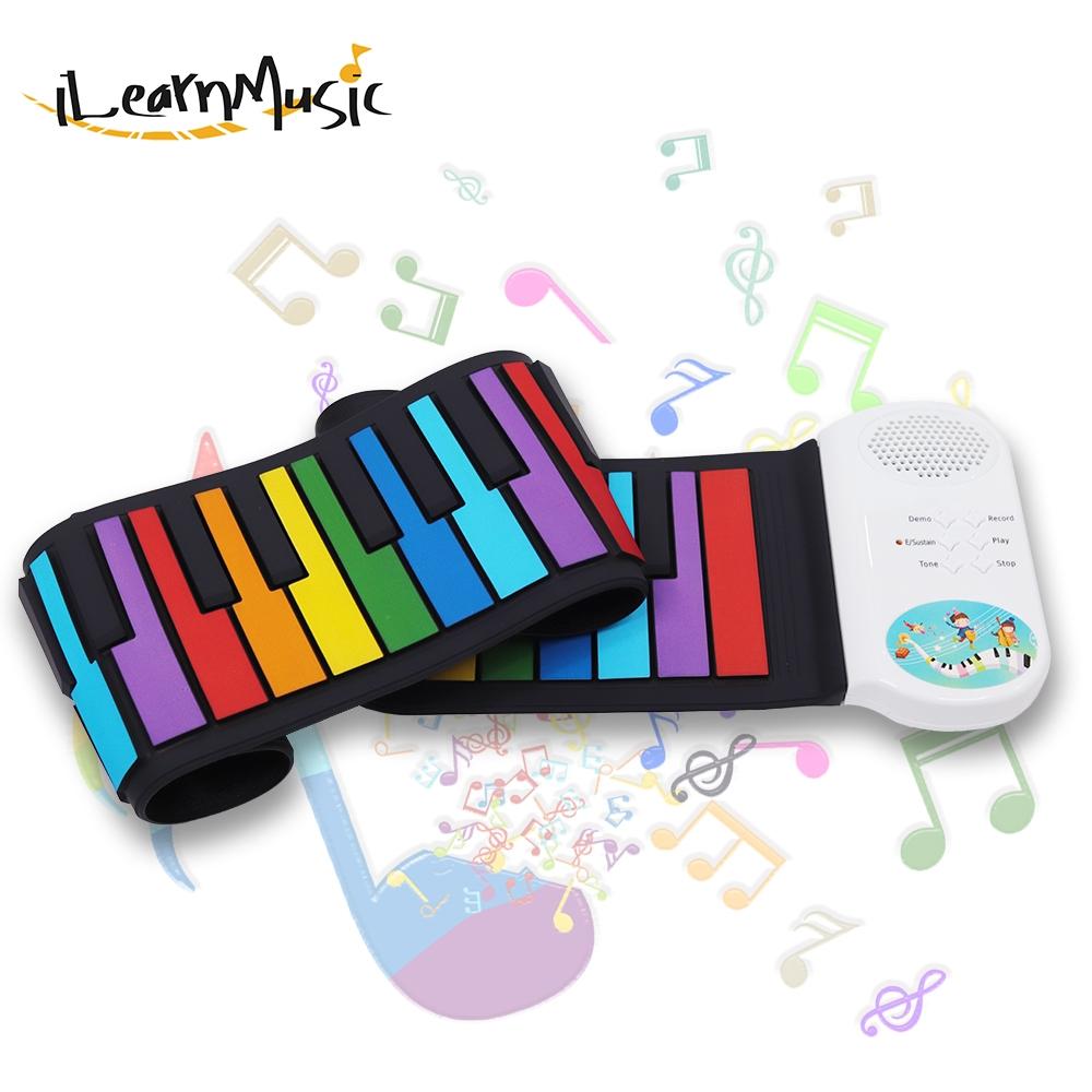 美國【iLearnMusic】兒童彩虹手捲鋼琴49鍵 電子鋼琴可外出攜帶 手捲琴 電子琴 KD49