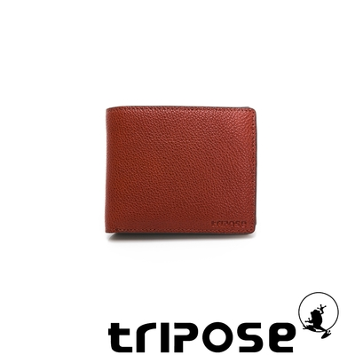 tripose 進口牛皮對開短夾 咖啡色