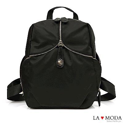 La Moda 設計感滿分獨特品味大容量防潑水後背包(黑)