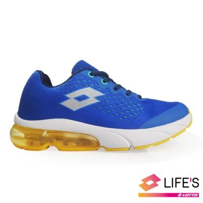 LOTTO 義大利 童 METEOR 流星 編織氣墊跑鞋 (藍)