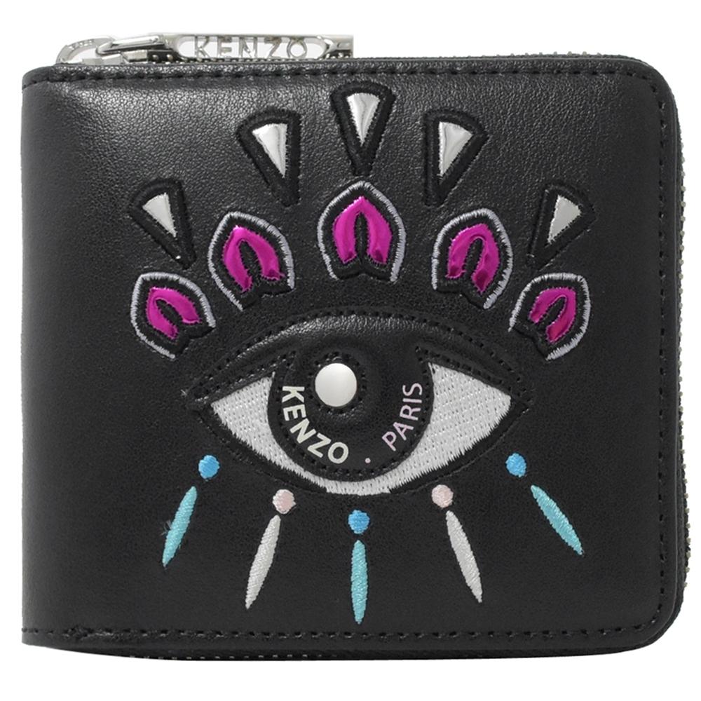KENZO 經典電繡眼睛圖案對開拉鍊零錢短夾(黑)