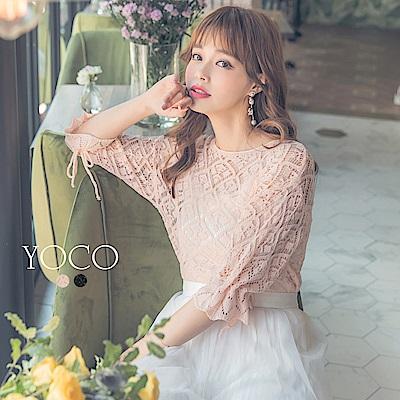 東京著衣-yoco 空靈美人袖綁帶鏤空針織衫上衣-S.M.L(共二色)