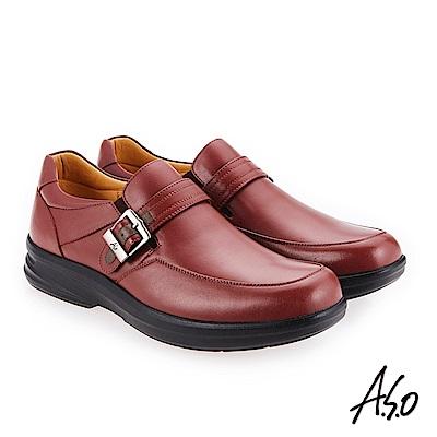 A.S.O 厚切超動力 金屬釦氣墊休閒皮鞋 赭紅