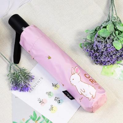 【雙龍牌】好奇兔降溫13度黑膠自動傘自動開收傘晴雨傘B6290NC-晶漾粉
