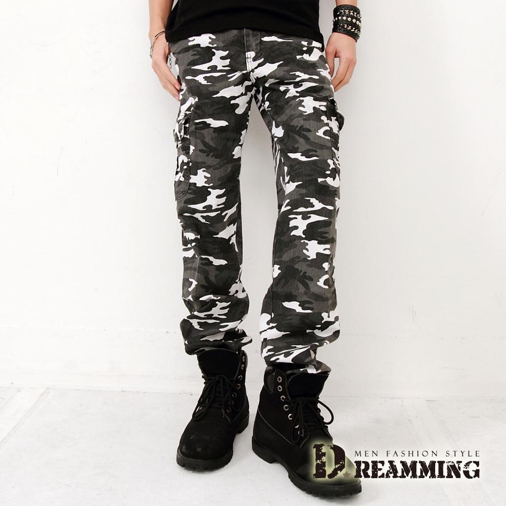 Dreamming BIGBANG天團穿搭迷彩休閒褲-灰白