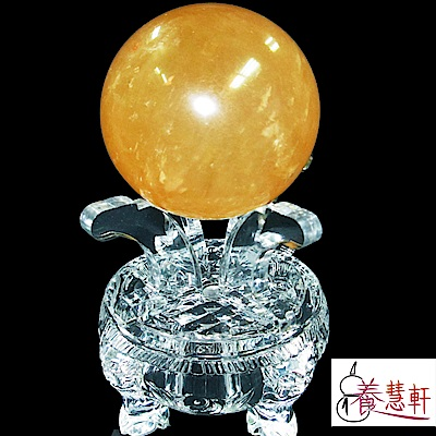 養慧軒 天然開運黃冰晶大圓球(直徑82-85mm) + 精緻高圓座 擺件