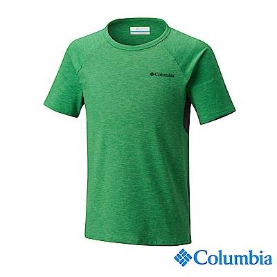 Columbia 哥倫比亞 男童-防曬50快排短袖上衣-綠色UAB00150GR