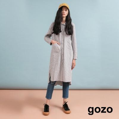 gozo 格紋拼接長版襯衫(二色)