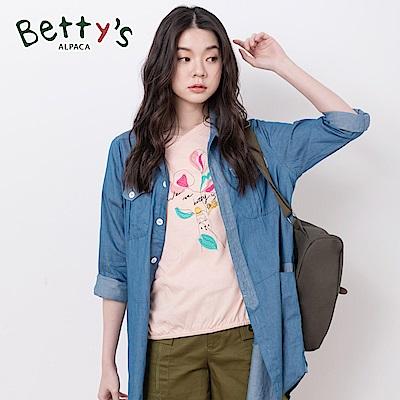 betty's貝蒂思 休閒中長款雙口袋長版牛仔襯衫(牛仔藍)
