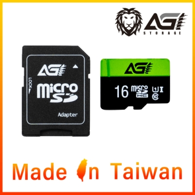 AGI 亞奇雷 microSDHC UHS-I 16G 記憶卡(附轉卡)