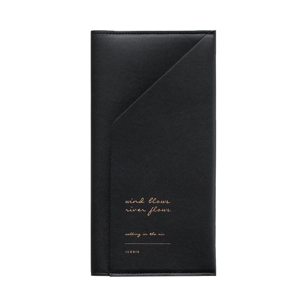 ICONIC 金釦對折護照長夾-氣質黑