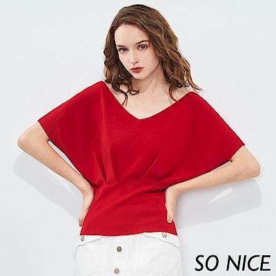 SO NICE亮麗造型連袖針織上衣