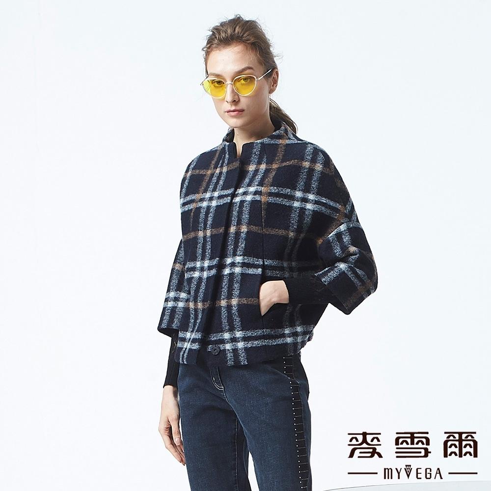 麥雪爾 羊毛格紋寬袖造型外套-深藍