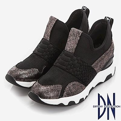 DN 街頭潮流 羊皮拼接異材質氣墊鞋-黑