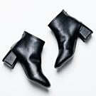 River&Moon短靴-韓版簡單素面縫線方頭粗跟短靴 黑