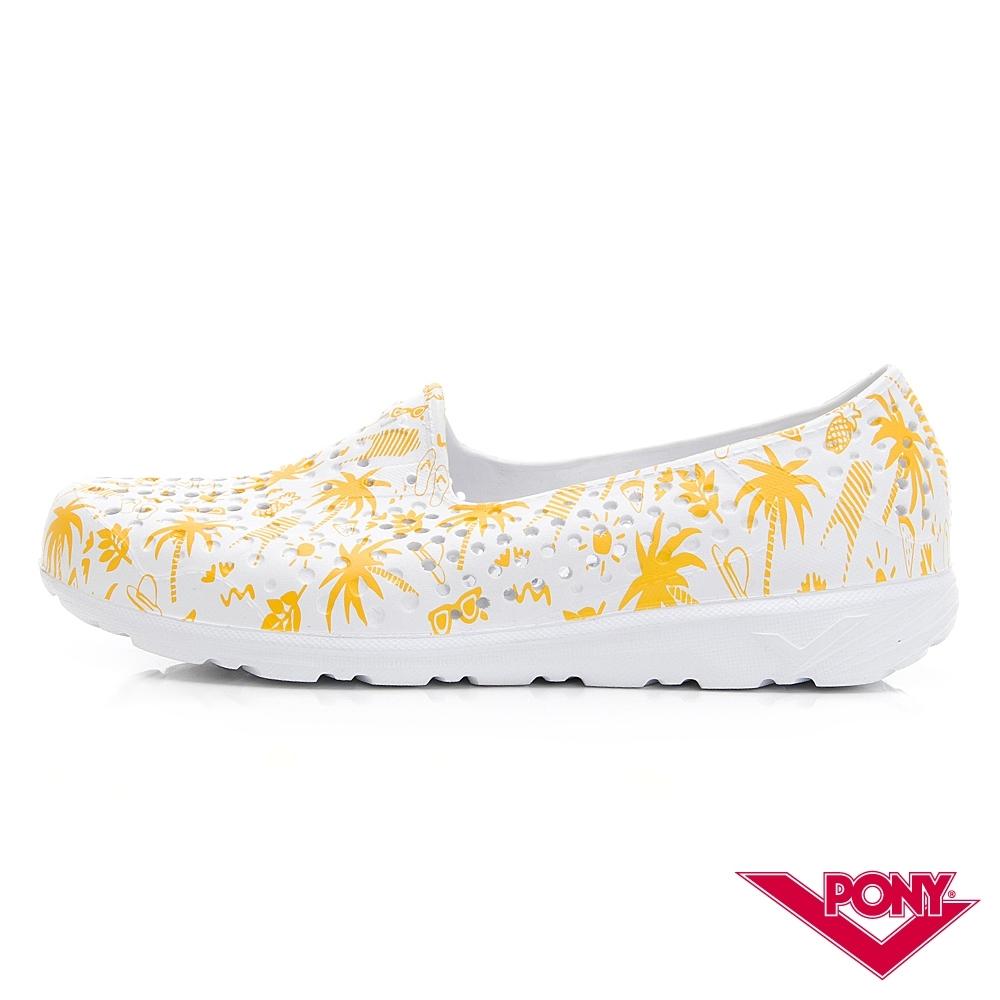 【PONY】TROPIC輕量透氣洞洞鞋 涼鞋 女鞋 夏日度假風印花/黃