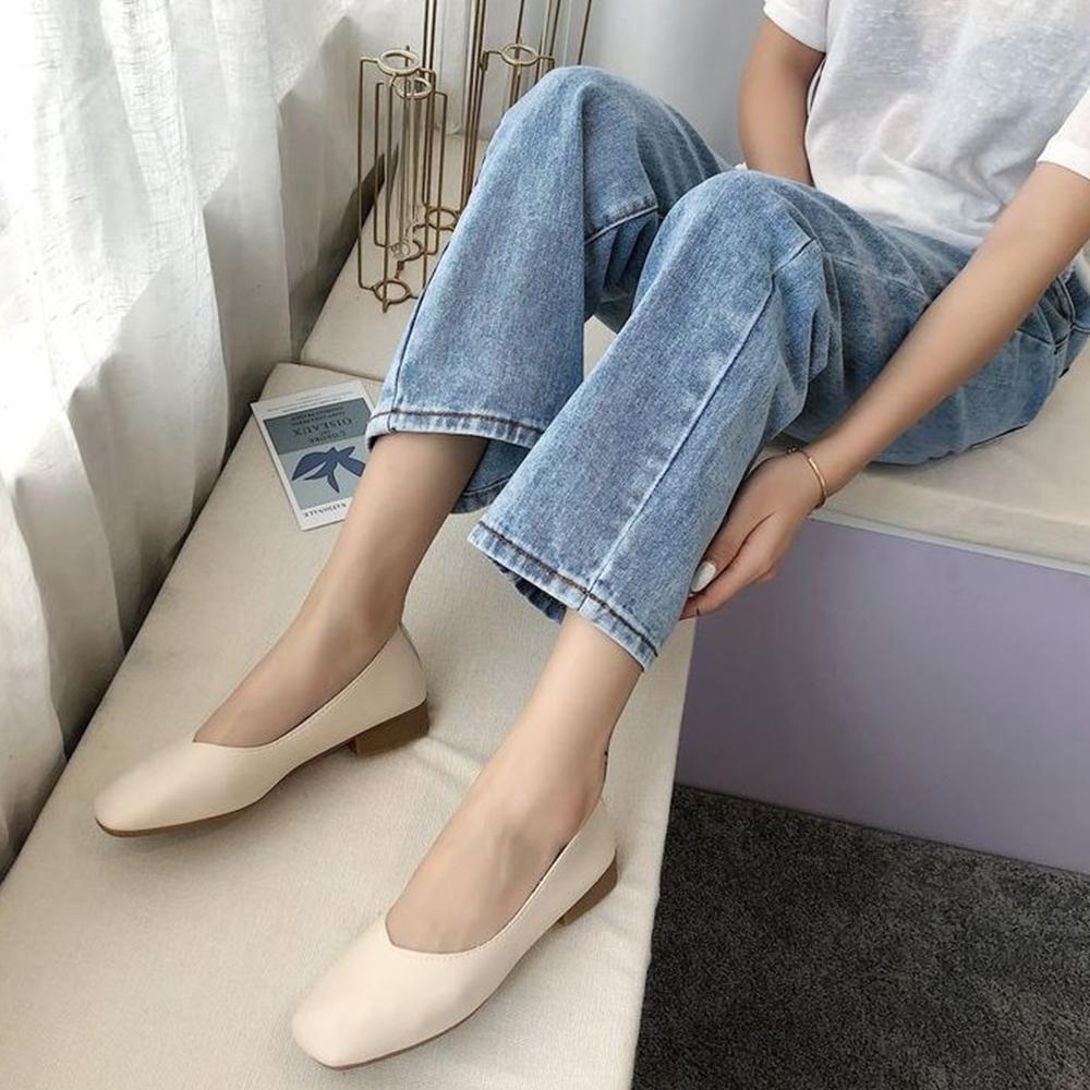 LN 現+預 經典款方頭低跟包鞋-4色 (米色)