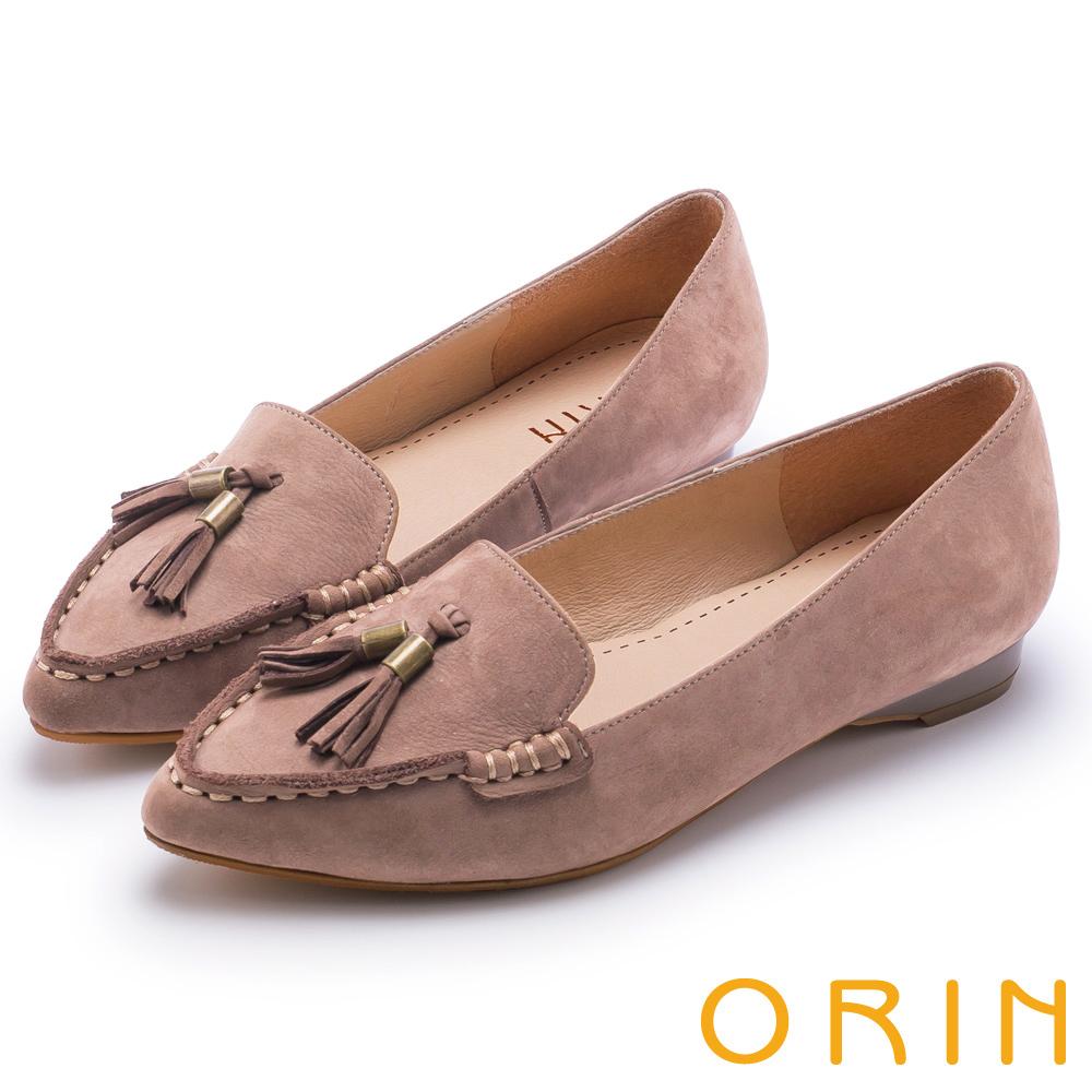 ORIN 經典復古 氣質流蘇牛皮尖頭樂福平底鞋-可可