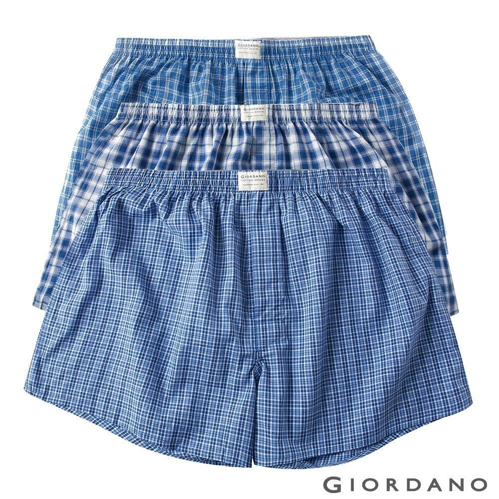 GIORDANO 男裝純棉寬鬆平底四角褲(三件裝)-02 藍格子