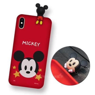 迪士尼授權正版 iPhone Xs Max 6.5吋 趴姿公仔手機殼 親膚軟殼(米奇)