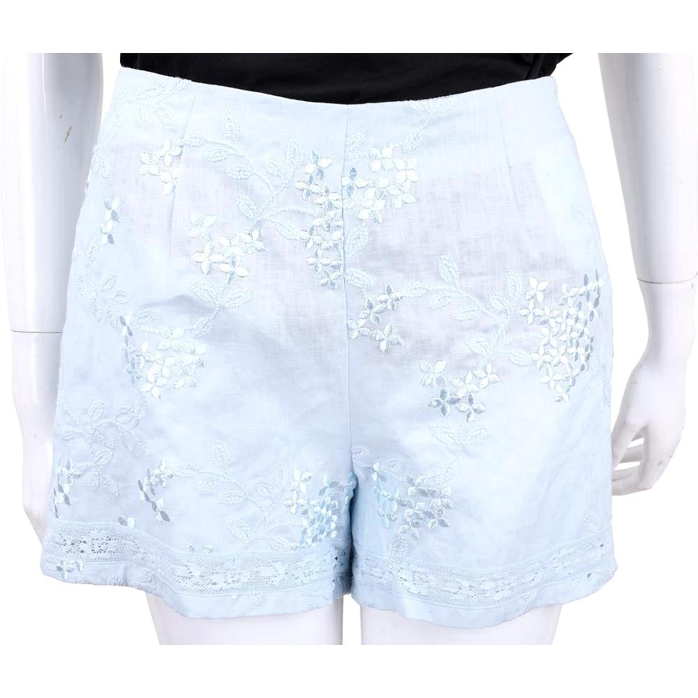 ERMANNO SCERVINO 刺繡拼接蕾絲水藍棉麻短褲