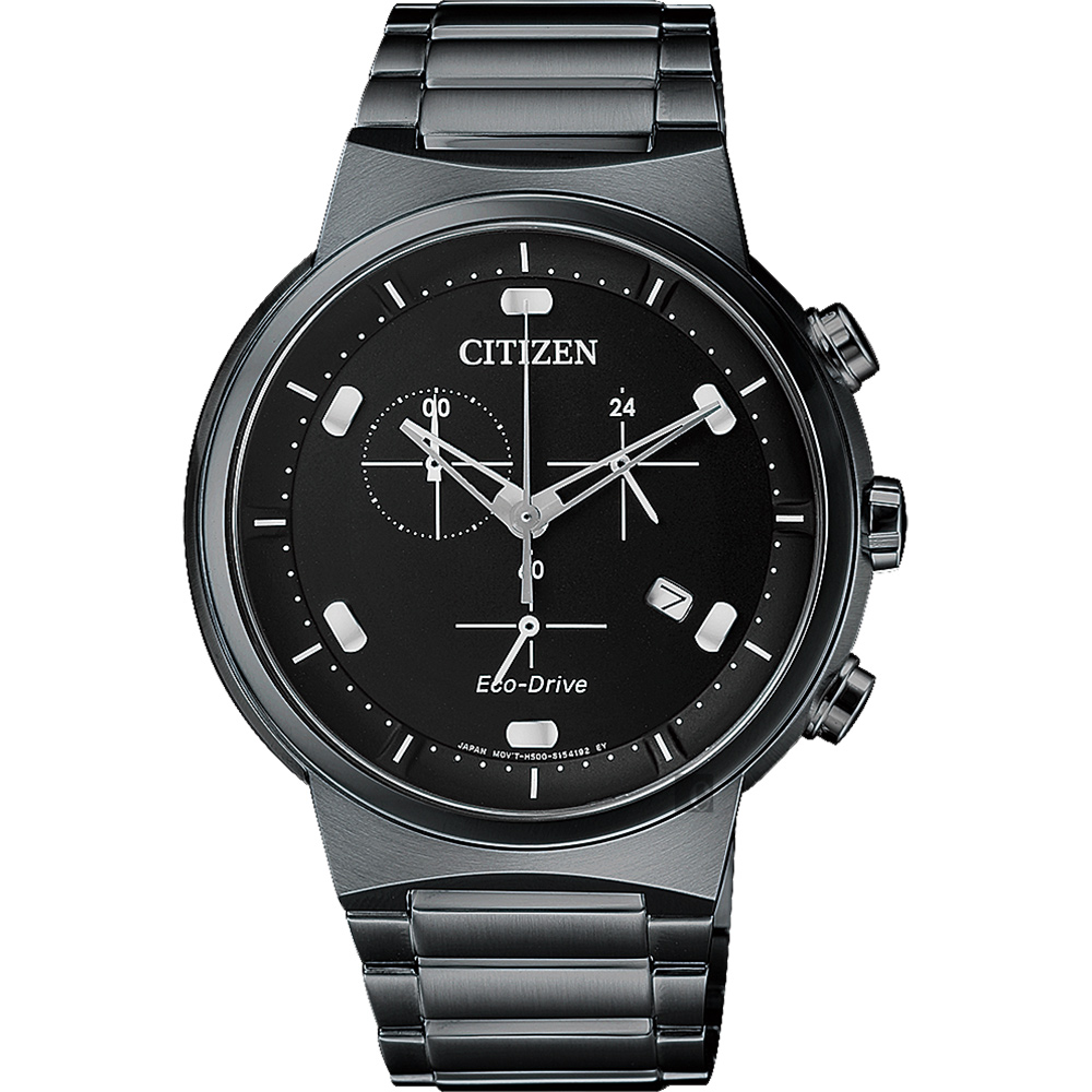 CITIZEN 星辰 Eco-Drive 光動能小秒針計時手錶-黑/41mm AT2405-87E product image 1
