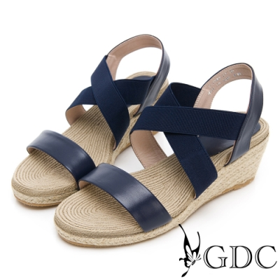 GDC-沙灘女孩真皮交叉草編春夏楔型涼鞋-藍色