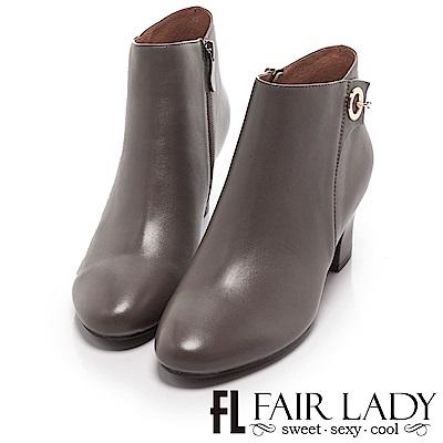Fair Lady時髦金屬環飾粗跟短靴 灰