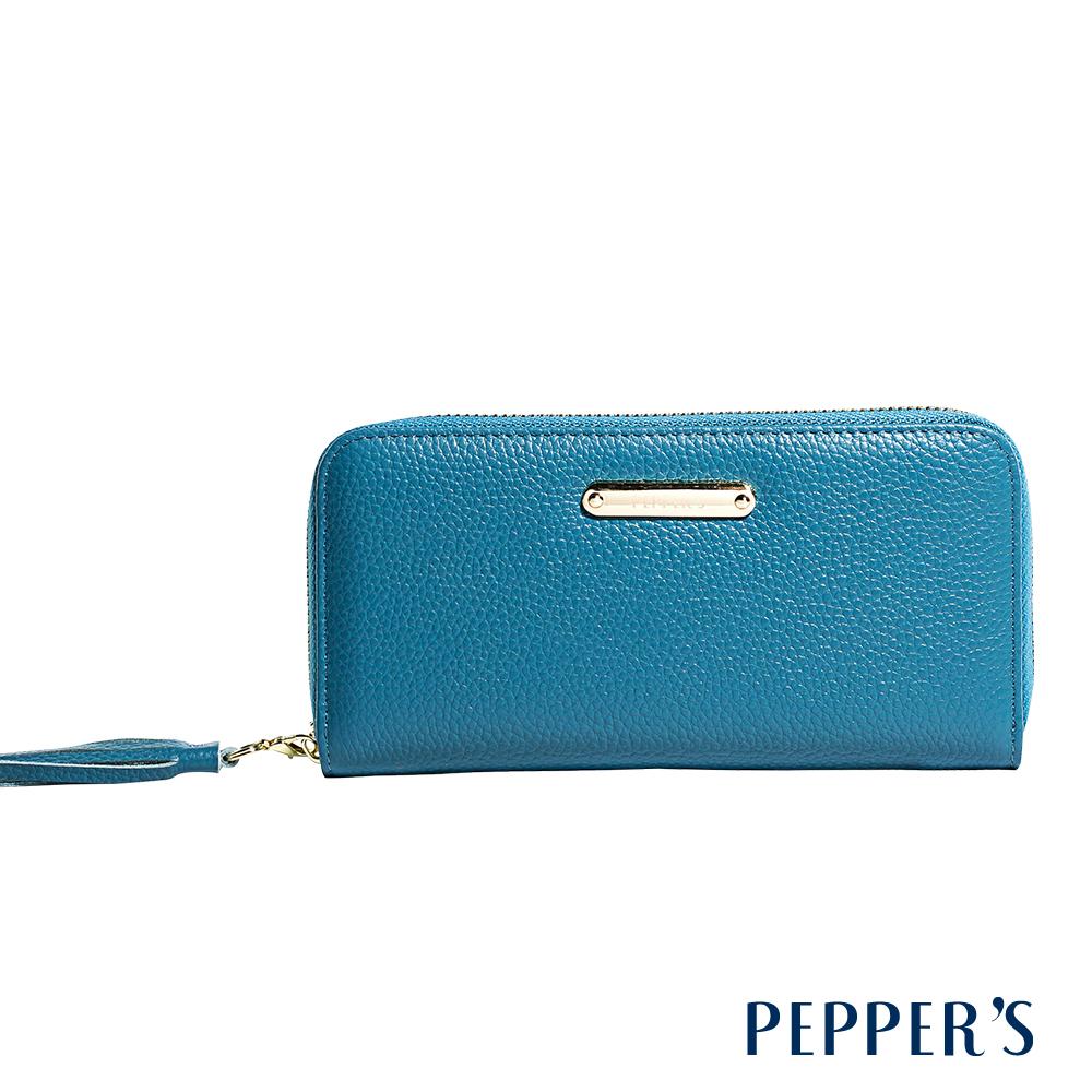 PEPPER`S Reese 牛皮流蘇拉鍊長夾 - 天空藍