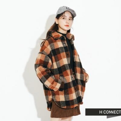H:CONNECT 韓國品牌 女裝 - 彩格毛呢夾克外套 - 卡其