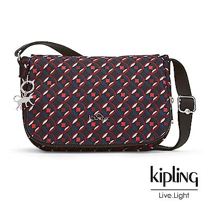 Kipling 斜背包 紅藍幾何印花-中