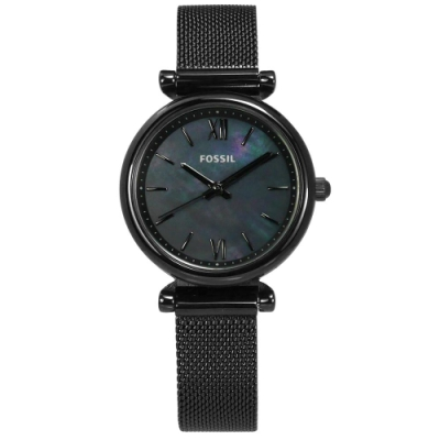 FOSSIL Jacqueline 時尚簡約 珍珠母貝 米蘭編織不鏽鋼手錶-鍍黑/28mm