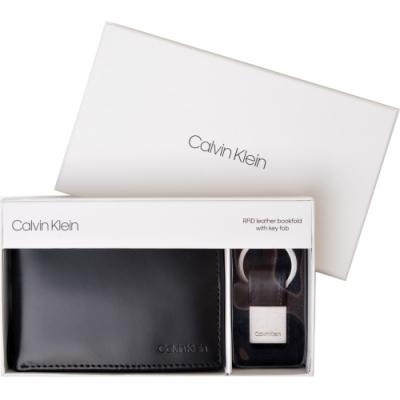 Calvin Klein LOGO皮革證件多卡短夾 附鑰匙圈-黑色