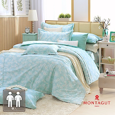 MONTAGUT-菊色天堂(藍)-200織紗精梳棉-鋪棉床罩組(雙人)
