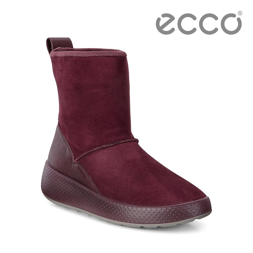ECCO UKIUK 冬季保暖雪靴 女鞋 酒紅色
