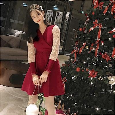 DABI 韓系復古設計感蕾絲拼接長袖洋裝