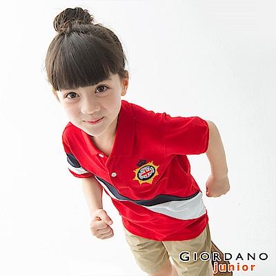 GIORDANO 童裝UNION JACK系列短袖POLO衫-39 高貴紅