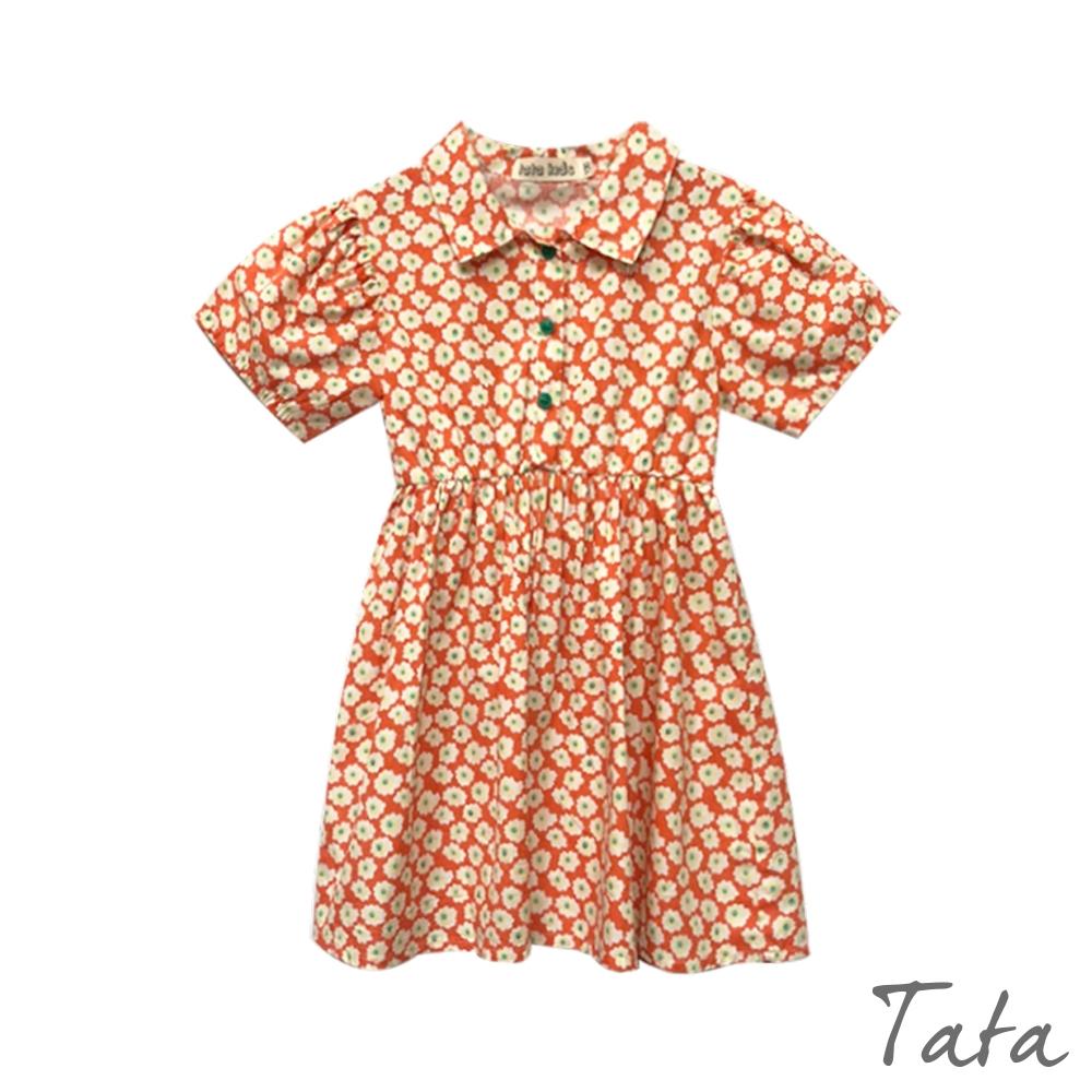 童裝 滿版小花澎袖排扣洋裝 TATA KIDS