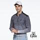 【Lynx Golf】男款遠紅外線保暖刷毛山貓織標反光印花長袖立領POLO衫-灰色 product thumbnail 1