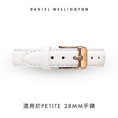 DW 錶帶 12mm金扣 純真白真皮皮革錶帶