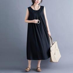 寬鬆純色拼接棉麻亞麻背心連衣裙M-2XL(共三色)-Keer