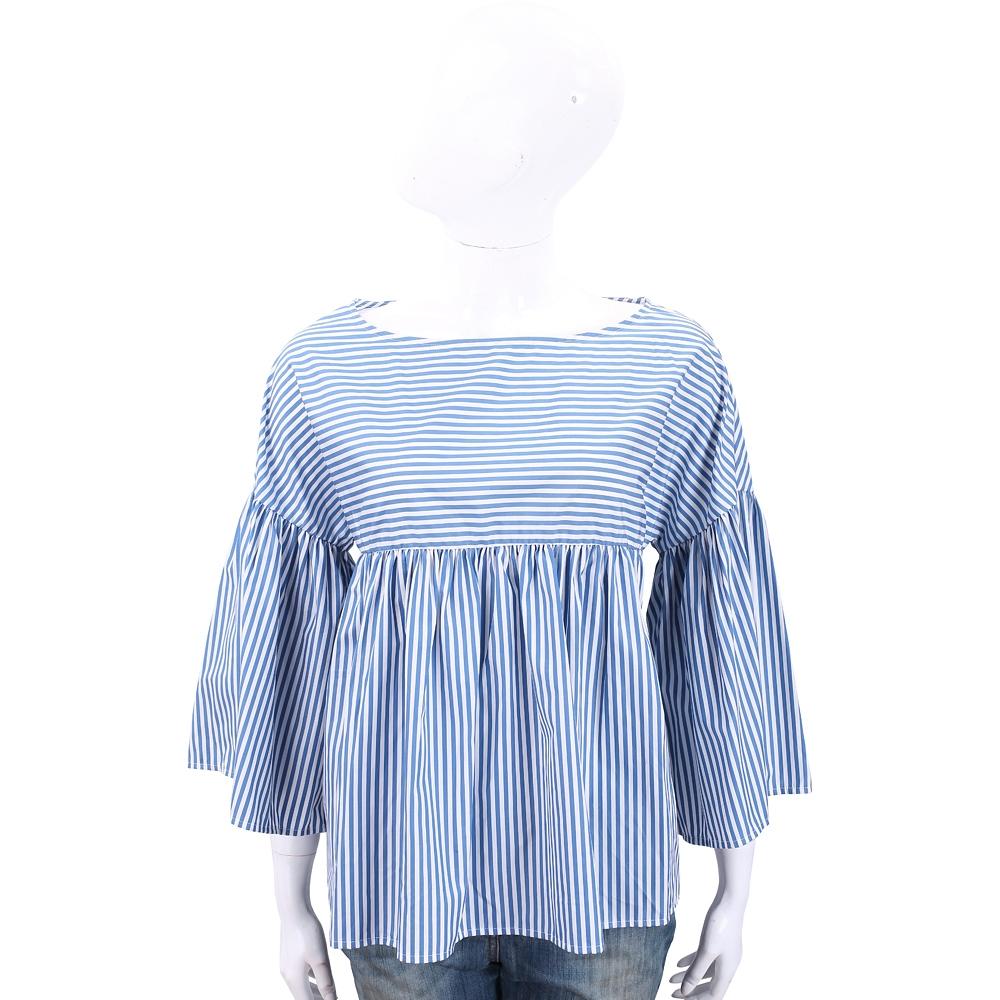 Max Mara-WEEKEND 蝴蝶刺繡藍白條紋荷葉袖上衣