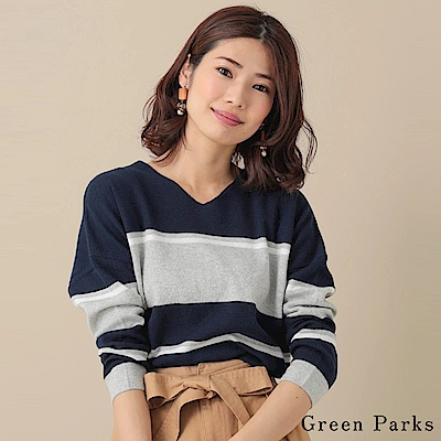 Green Parks 定番條紋配色長袖針織上衣