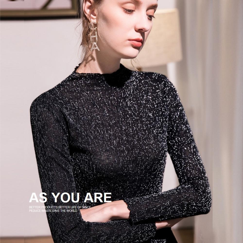 專注內搭-滾邊內搭長袖T恤彈力緊身閃光絲薄版網紗上衣(四色S-3XL可選) product image 1